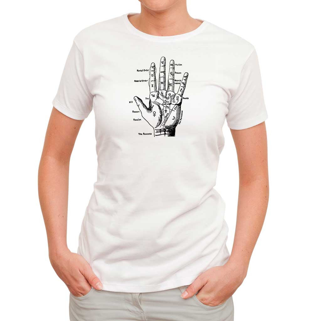 Palmistry hand t shirt for women remo general store for Full hand t shirts for womens