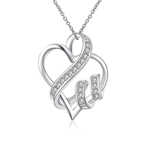Collana Swarovski Crystal I LOVE YOU in oro bianco 18 carati placcato