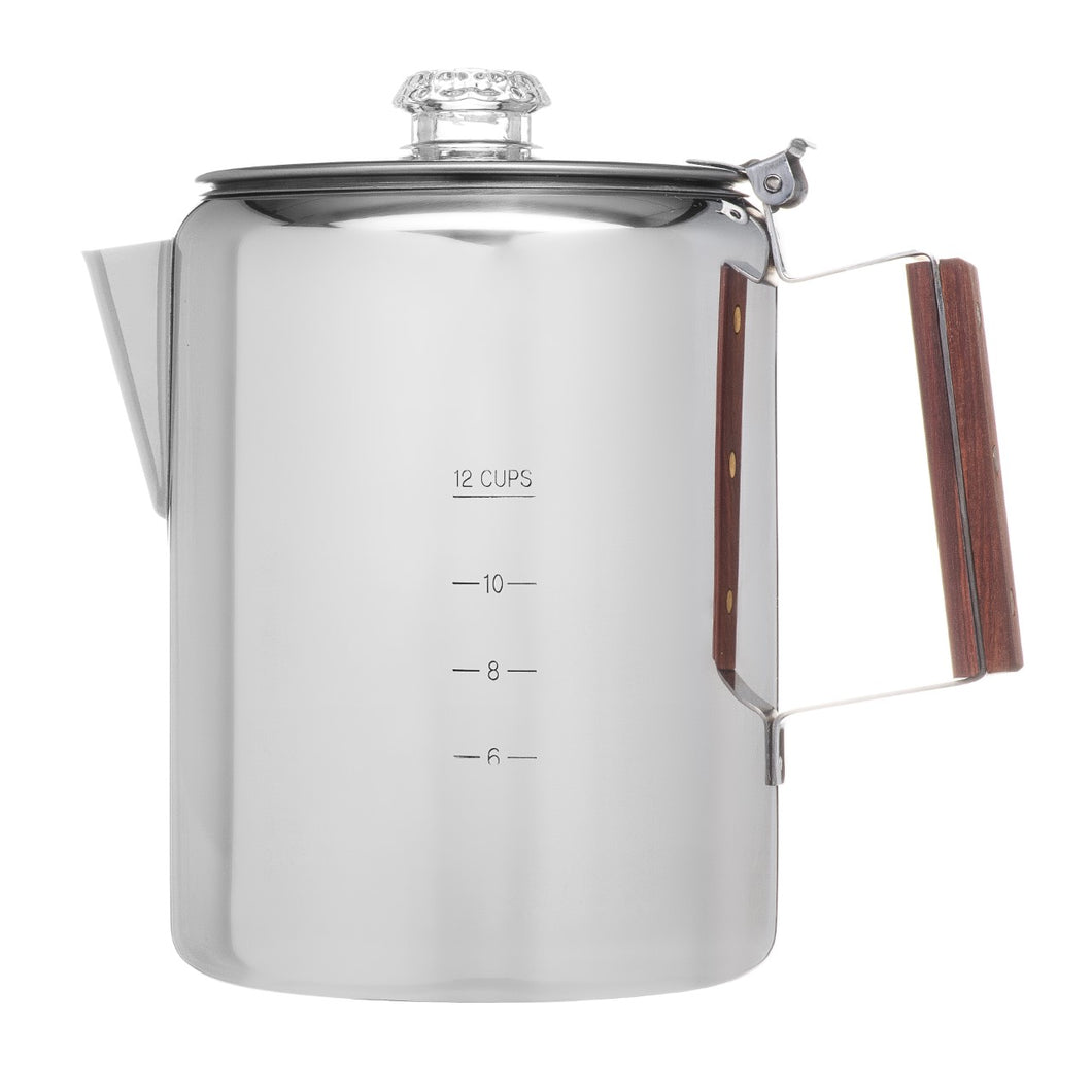 "COLETTI ""BOZEMAN"" PERCOLATOR COFFEE POT – 12 CUP STAINLESS STEEL"