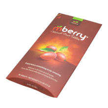 Load image into Gallery viewer, mberry Miracle Berry Tablets. Maroon with 3 miracle fruit on the front with yellow orange background. Logo has a red m and two green leaves above, followed by white letters that spell out berry.  The packaging is laying at a tilt, as if laying on a table