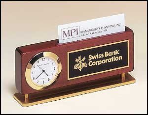 Clock/Business Card Holder