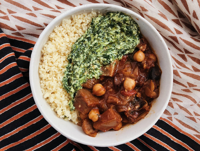 Moroccan Stew with Chermoula Yogurt and Couscous