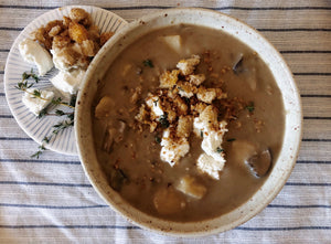 Mushroom Potato Soup with Garlic Thyme Breadcrumbs and Goat Cheese 6/26/2019