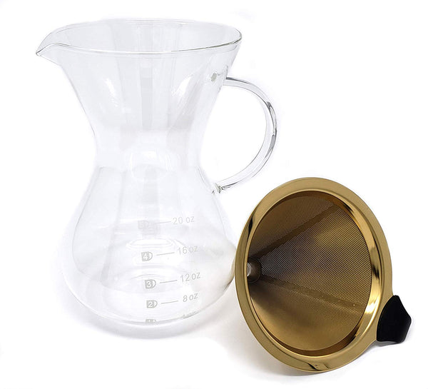 Pour Over Coffee Maker With Gold Platinum Filter