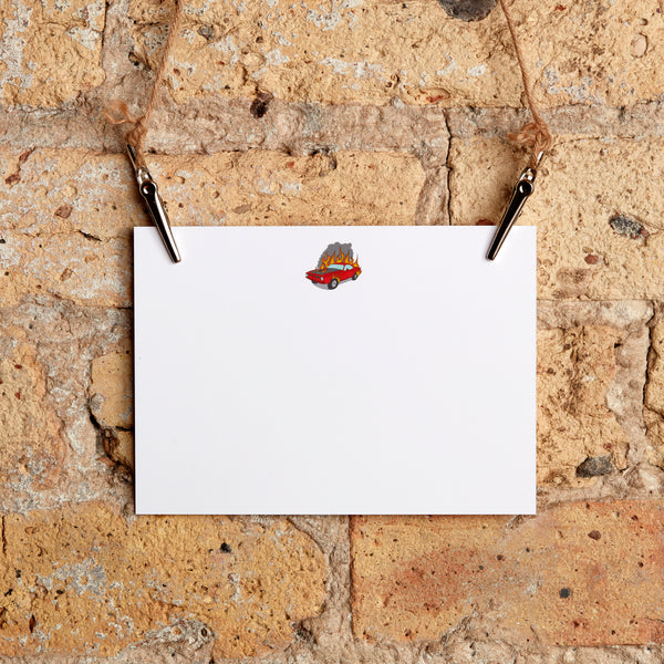 classic car fire stationery