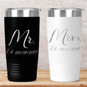 Mr. and Mrs. 20 ounce tumblers