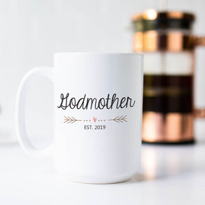 Godmother Mug with Heart and Arrows