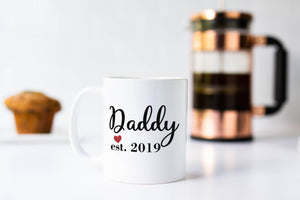 New Daddy Established 2019 Pregnancy Reveal Heart Coffee Mug