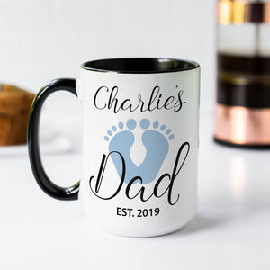 Blue Baby Foot Print Dad Gift Coffee Mug