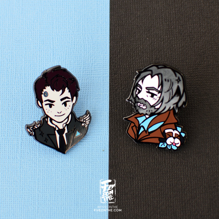 Connor & Hank ✦ Detroit Become Human Enamel Pins