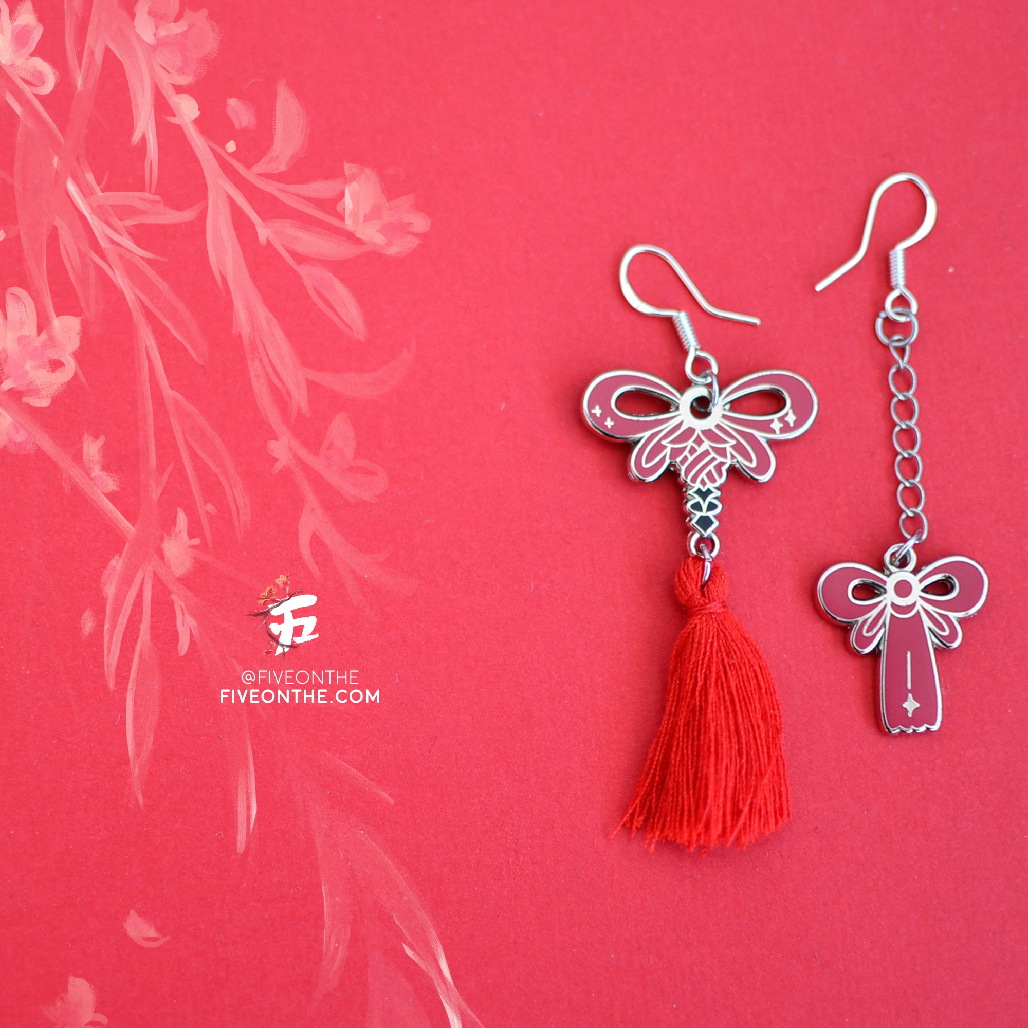 Ryumyaku Asymmetrical Earrings - 925 Sterling Silver Tassel Earrings ✦ FFXIV