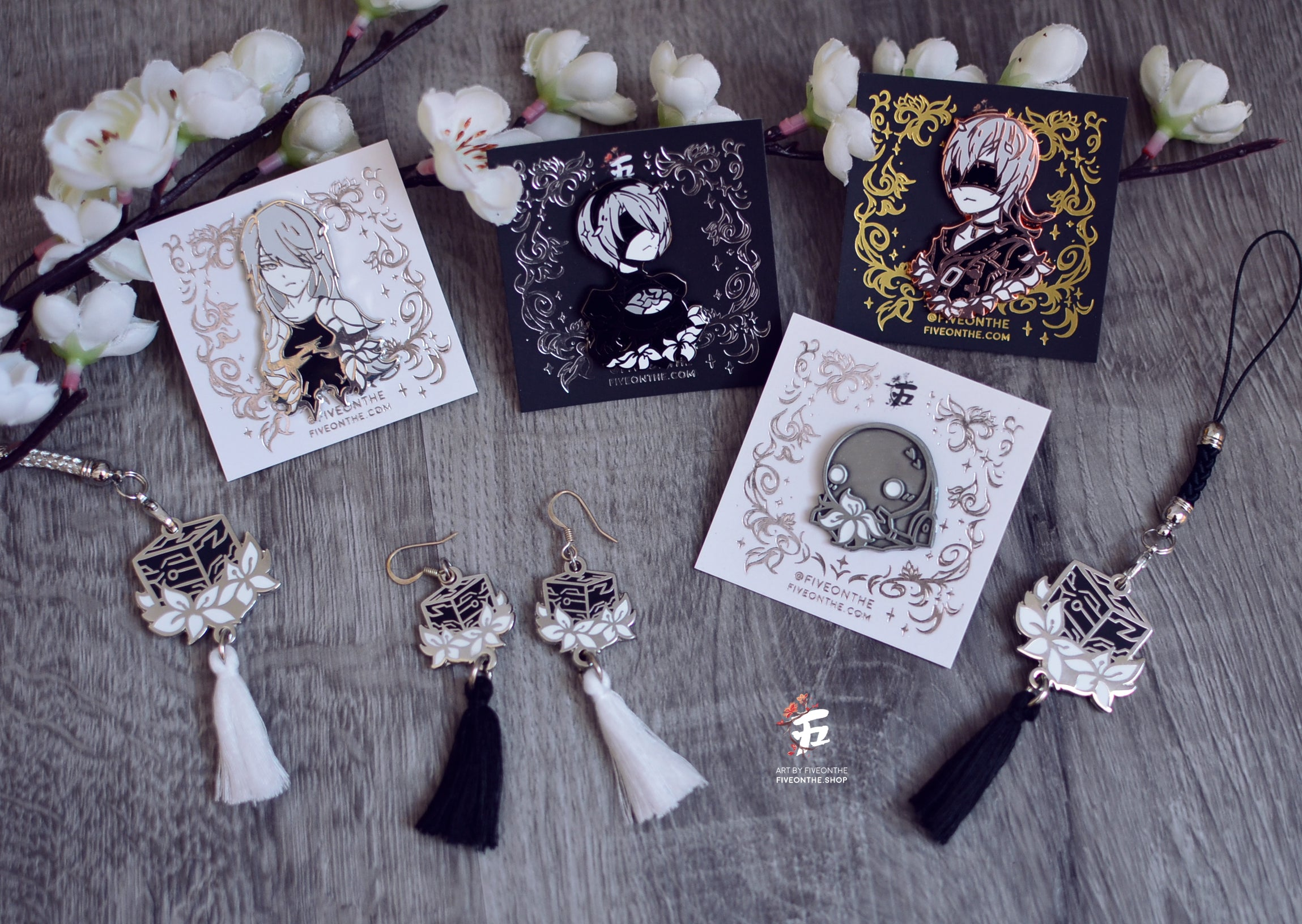 Black Box and Lunar Tear Earrings / Charm ✦ NieR Automata