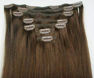 "Luxe European 7 Piece Clip In Hair Extensions - #6 - Cafe Latte Brown - 20"" - 190g -  Extra Thick Set"