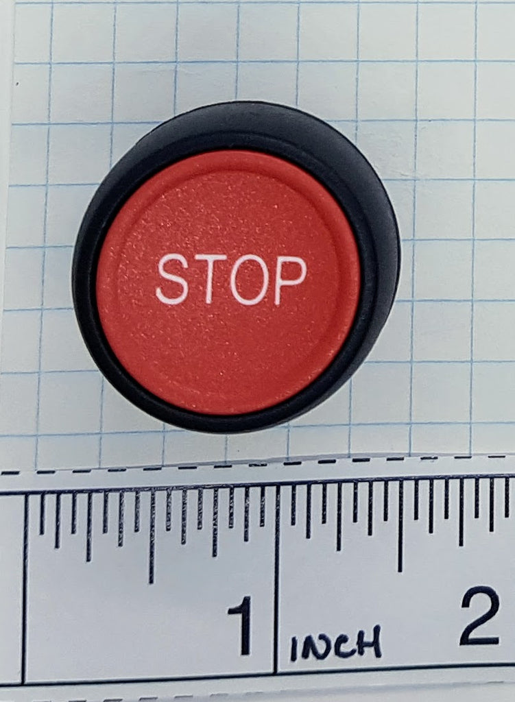 "S+S Push Button, Red, Plastic, Flush, ""Stop"""