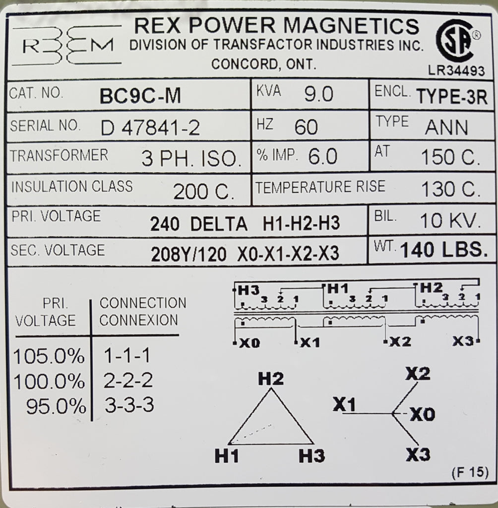 Rex Distribution Transformer - 240-120/208v - 3 ph - 9KVA