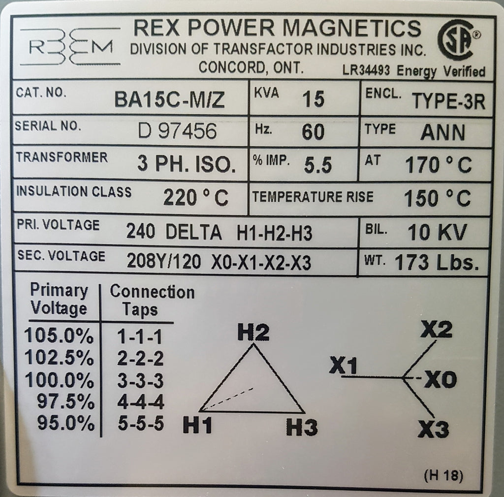 Rex Distribution Transformer - 240v Delta 208/120v Wye - 3ph - 15KVA - Aluminum - Step Down