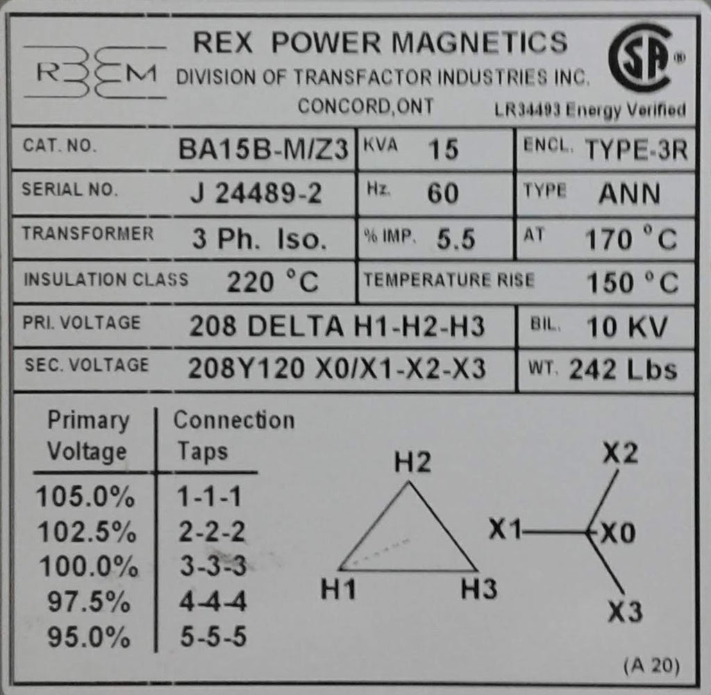 Rex Distribution Transformer - 208v Delta 208/120v Wye - 3ph - 15KVA - Aluminum