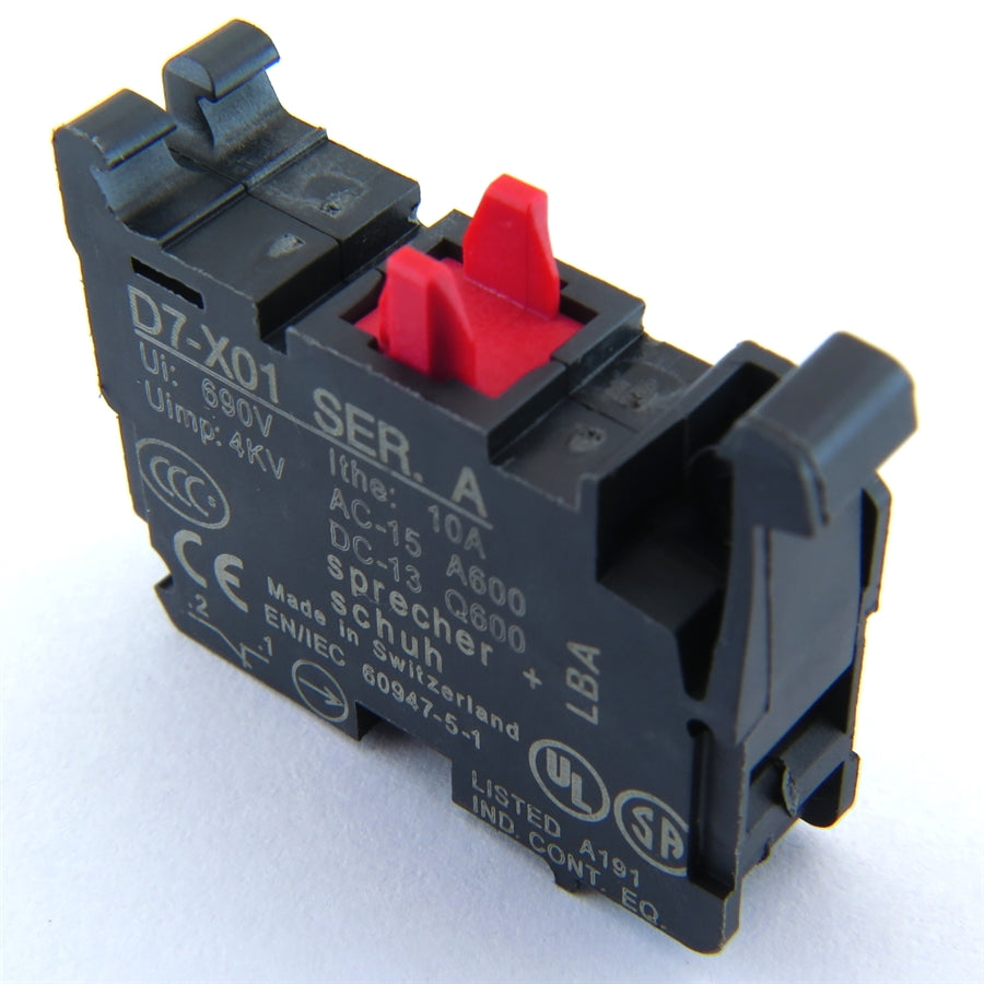 S+S Contact Block, Normally Closed, Red