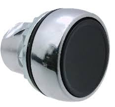 S+S Push Button, Black, Metal, Momentary
