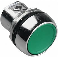 S+S Push Button, Green, Metal