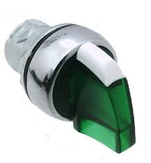 S+S Selector Switch, 3-Position Maintained, Illuminated Green, Metal