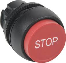 "S+S Push Button, Red, Extended, Momentary, ""Stop"""