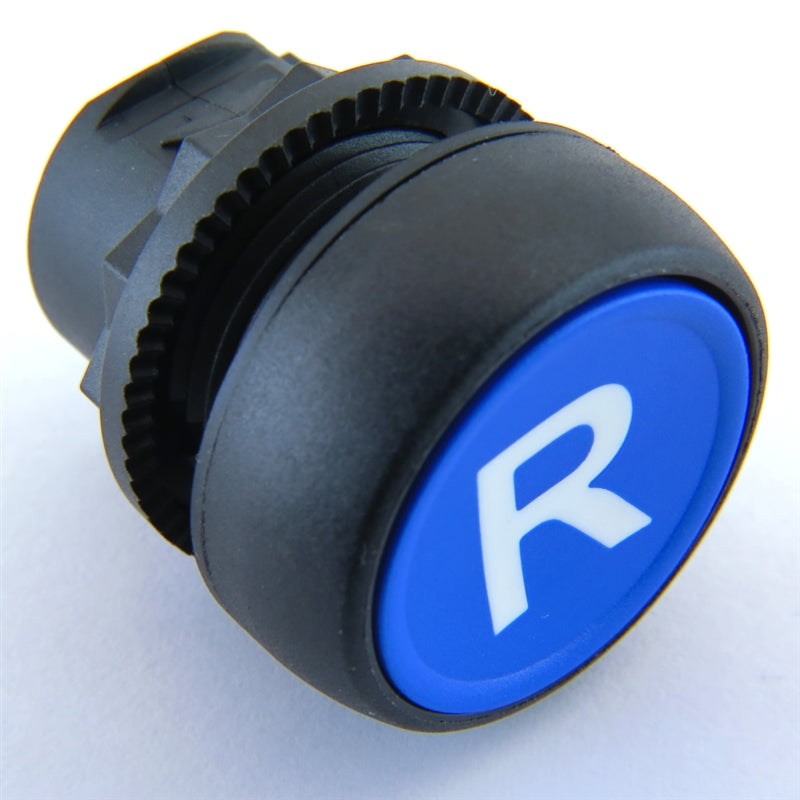 "S+S Push Button, Blue, Plastic, Flush, ""R"" for Reset"