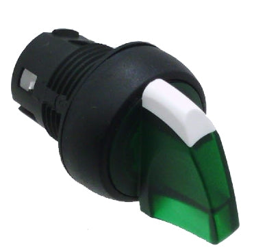 S+S Selector Switch, 2-Position Maintained, Illuminated Green, Plastic