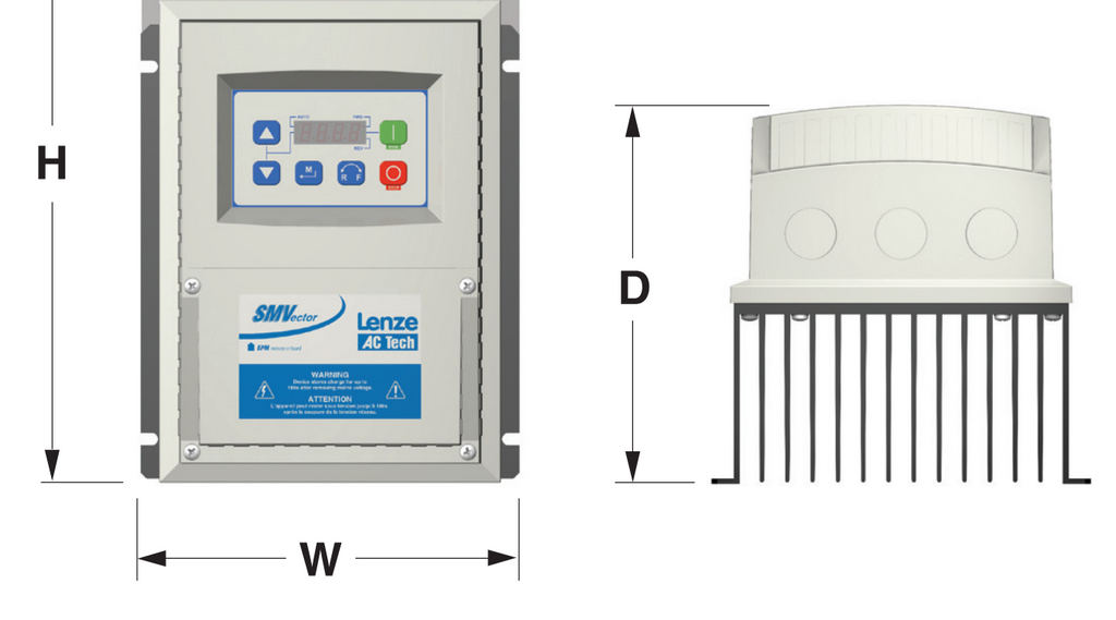 Lenze AC Tech VFD - 1HP - 200-240v - Single or 3 phase input - NEMA4x Indoor Washdown - Variable Fre