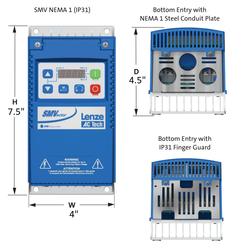 Lenze AC Tech VFD - 1HP - 200-240v - Single or 3 phase input - NEMA1 Indoor - Variable Frequency Dri