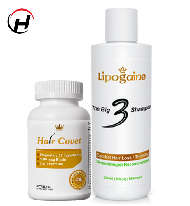 "Lipogaine ""THE BIG 3"" Shampoo & HAIR Covet 3 in 1 Supplement ""COMBO"" set"