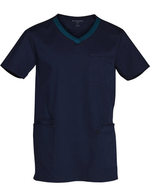Mens Contrast Colour S/S Scrub Top