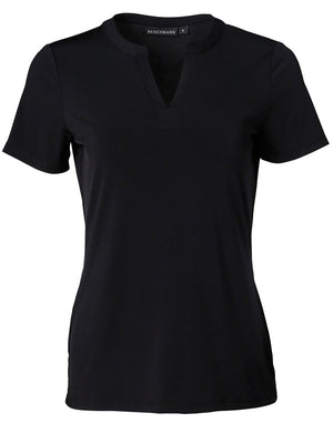 Ladies V-neck with Tab S/S Knit Top