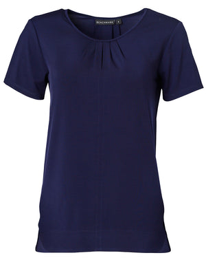 Ladies Round Neck with Pleats S/S Knit Top