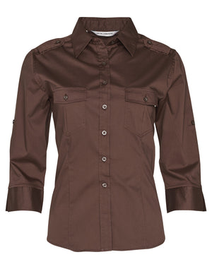 Womens 3/4 Sleeve Military Shirt
