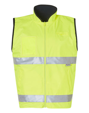 Hi-Vis Reversible Mandarine Collar Safety Vest With 3M Tapes