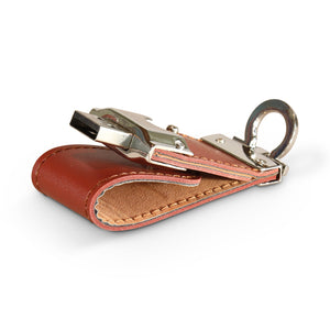 Press stud short leather pouch USB