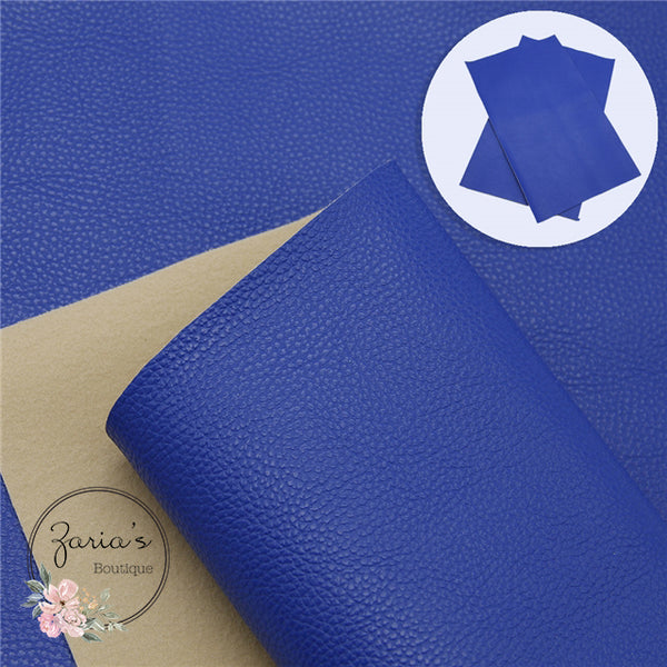 Pebble Grain |  Royal Blue Faux Leather Bow Making Fabric  ~ 0.91mm