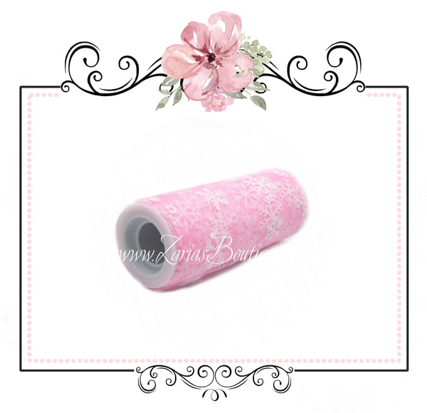 Snowflake Collection ~ Pink Snowflake Tulle ~ per yard