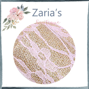 Gold & Pink Lace Floral ~ Faux Leather Craft Fabric Sheets