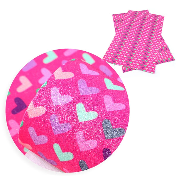 Hot Pink Rainbow Hearts ~ Fine Glitter Craft Fabric Bow Making