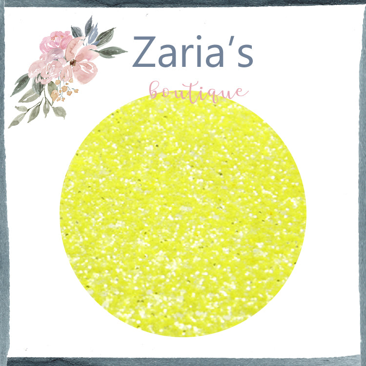 Crystal Lemon Yellow ~ Chunky Glitter Faux Leather Fabric Sheets