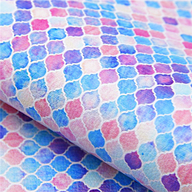 Boho Arabesque Tile ~ Luxe Grain Faux Leather ~ Pink Purple Blue