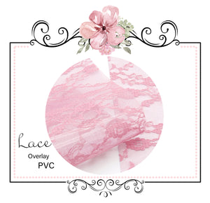 Transparent Pink Lace PVC Bow Craft Fabric