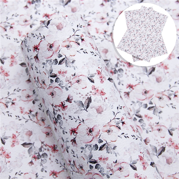 Magnolia Flowers ~ Luxe Grain Faux Leather Bow Fabric Sheets