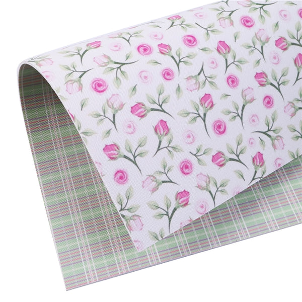 Plaid Floral ~ Double Sided ~ Pink Green ~ Faux Leather ~ Leatherette ~ Pleather