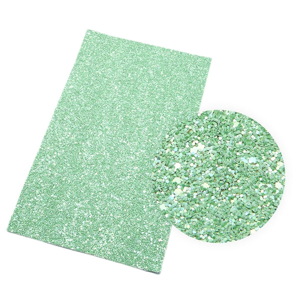 Spearmint Green ~ Chunky Glitter Canvas Fabric Sheets