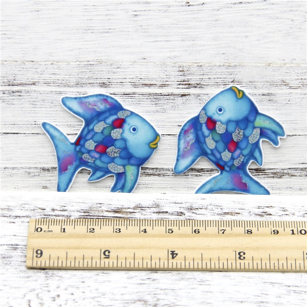 Rainbow Fish Planar Resin Embellishment x 2