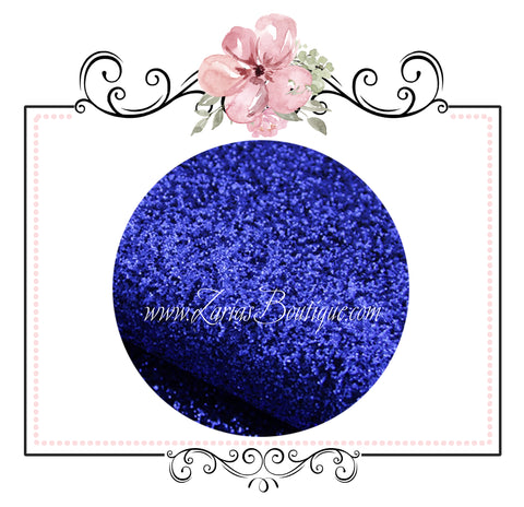 Electric Blue ~ Fine Texture Glitter Faux Leather Fabric Sheets