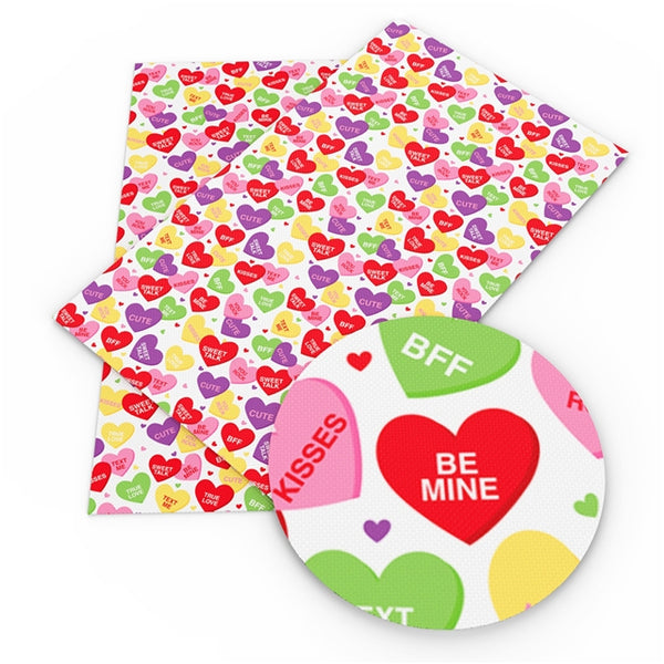 Conversation Hearts ~ Smooth Valentine Candy Lolly Faux Leather Fabric Leatherette